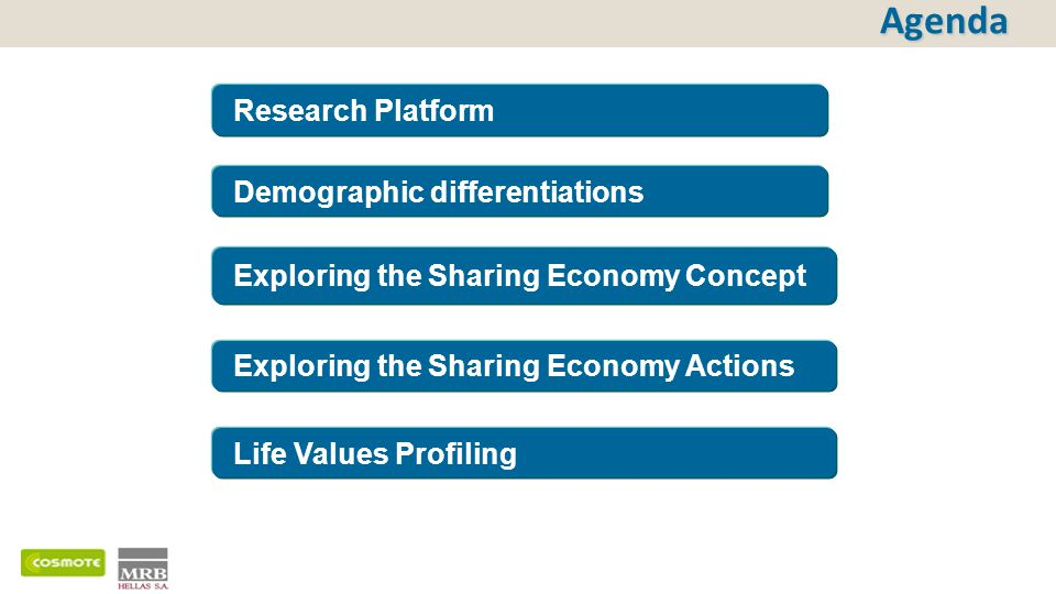 Exploring the Sharing Economy Actions Exploring the Sharing Economy Concept Agenda Life Values Profiling Research Platform Demographic differentiation