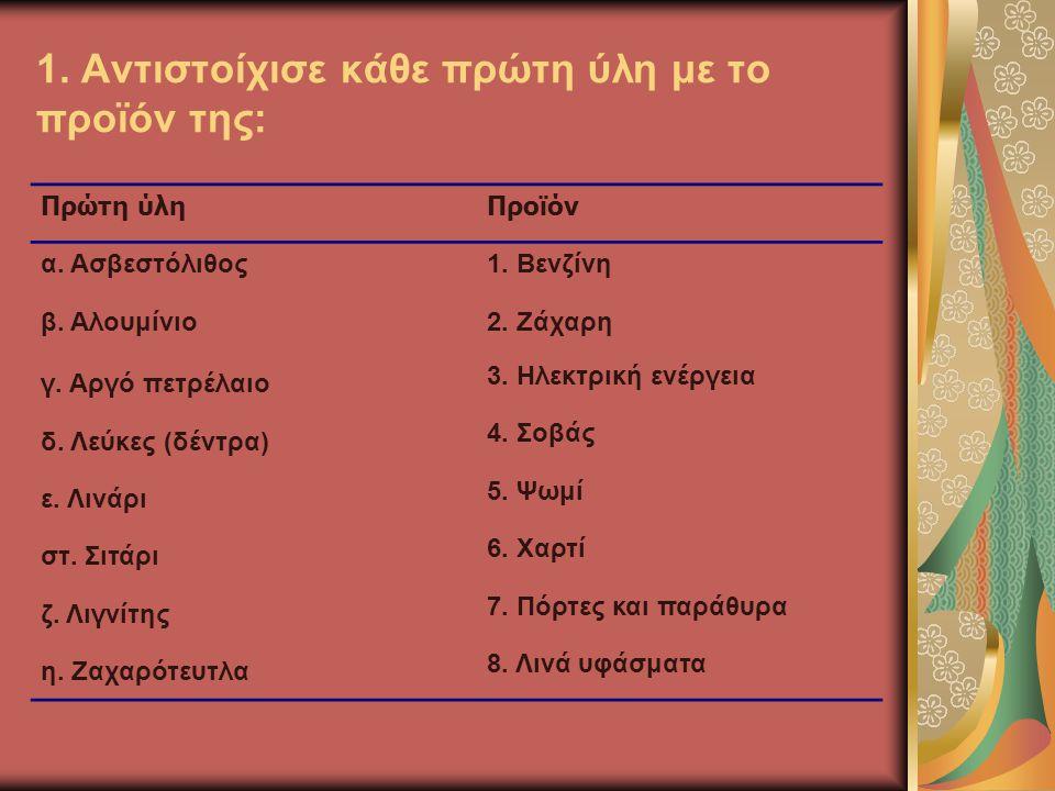 1. Aντιστοίχισε κάθε πρώτη ύλη με το προϊόν της: Πρώτη ύληΠροϊόν α. Ασβεστόλιθος1. Βενζίνη β. Αλουμίνιο2. Ζάχαρη γ. Αργό πετρέλαιο 3. Ηλεκτρική ενέργε
