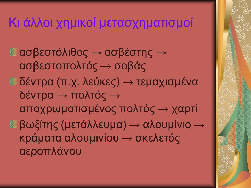 Κι άλλοι χημικοί μετασχηματισμοί ασβεστόλιθος → ασβέστης → ασβεστοπολτός → σοβάς δέντρα (π.χ. λεύκες) → τεμαχισμένα δέντρα → πολτός → αποχρωματισμένος
