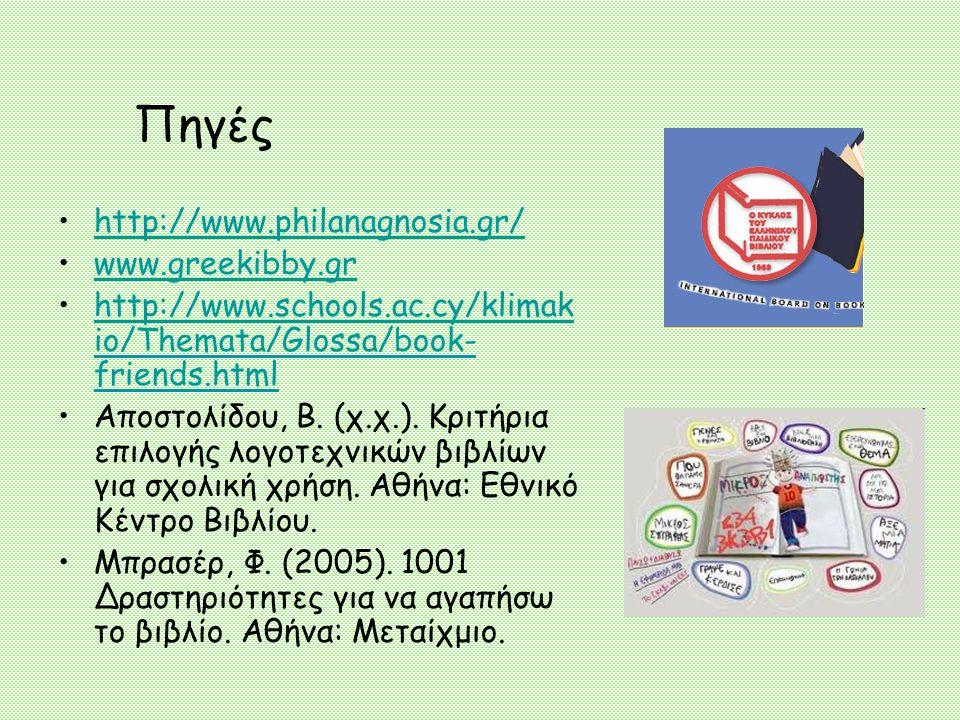 Πηγές http://www.philanagnosia.gr/ www.greekibby.gr http://www.schools.ac.cy/klimak io/Themata/Glossa/book- friends.htmlhttp://www.schools.ac.cy/klimak io/Themata/Glossa/book- friends.html Αποστολίδου, Β.
