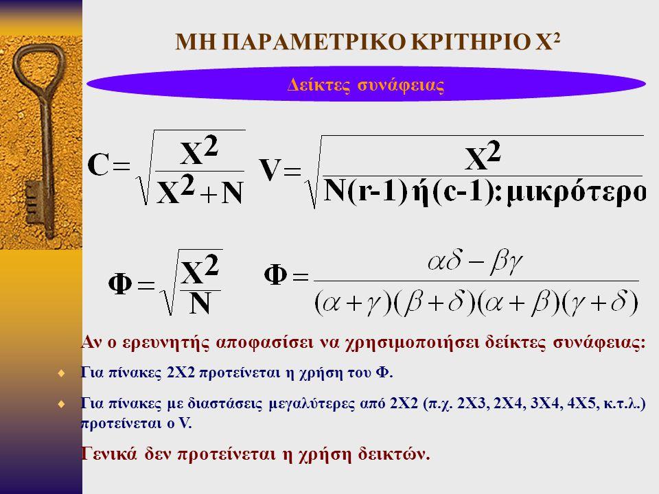 ΜΗ ΠΑΡΑΜΕΤΡΙΚΟ ΚΡΙΤΗΡΙΟ Χ 2 Δείκτες συνάφειας Αν ο ερευνητής αποφασίσει να χρησιμοποιήσει δείκτες συνάφειας:  Για πίνακες 2Χ2 προτείνεται η χρήση του