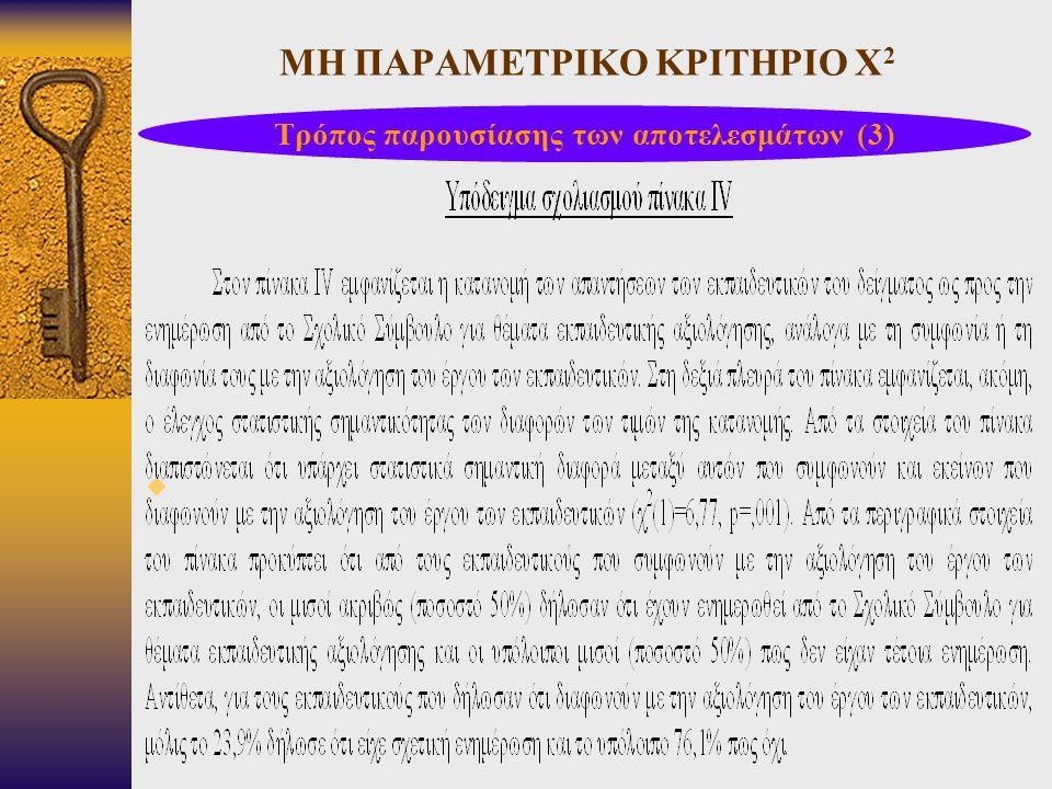 ΜΗ ΠΑΡΑΜΕΤΡΙΚΟ ΚΡΙΤΗΡΙΟ Χ 2  Τρόπος παρουσίασης των αποτελεσμάτων (3)