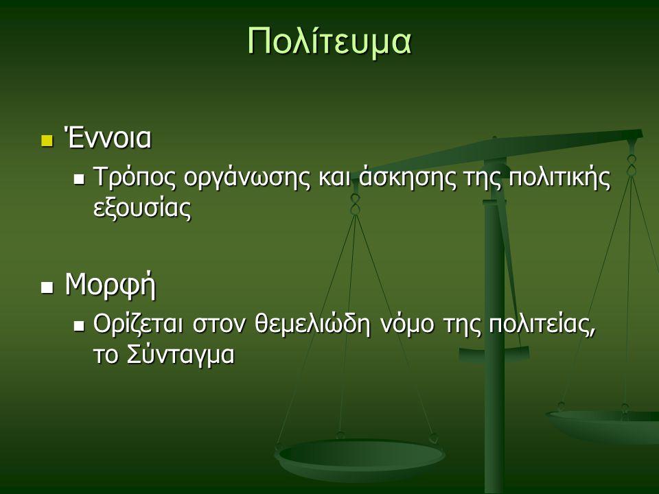 Πολίτευμα Έννοια Έννοια Τρόπος οργάνωσης και άσκησης της πολιτικής εξουσίας Τρόπος οργάνωσης και άσκησης της πολιτικής εξουσίας Μορφή Μορφή Ορίζεται στον θεμελιώδη νόμο της πολιτείας, το Σύνταγμα Ορίζεται στον θεμελιώδη νόμο της πολιτείας, το Σύνταγμα