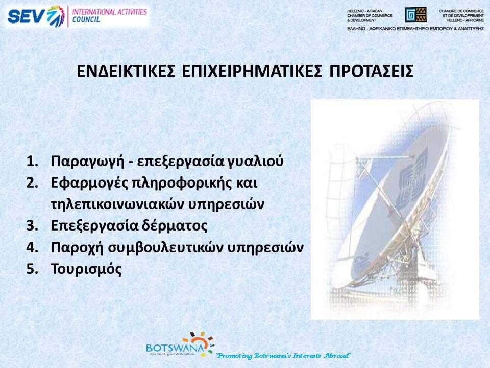 ΕΝΔΕΙΚΤΙΚΕΣ ΕΠΙΧΕΙΡΗΜΑΤΙΚΕΣ ΠΡΟΤΑΣΕΙΣ 1.Παραγωγή - επεξεργασία γυαλιού 2.Εφαρμογές πληροφορικής και τηλεπικοινωνιακών υπηρεσιών 3.Επεξεργασία δέρματος 4.Παροχή συμβουλευτικών υπηρεσιών 5.Τουρισμός