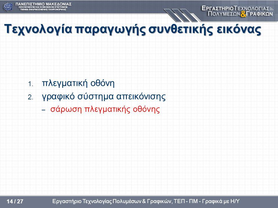 Εργαστήριο Τεχνολογίας Πολυμέσων & Γραφικών, ΤΕΠ - ΠΜ - Γραφικά με Η/Υ 14 / 27 Τεχνολογία παραγωγής συνθετικής εικόνας 1. πλεγματική οθόνη 2. γραφικό