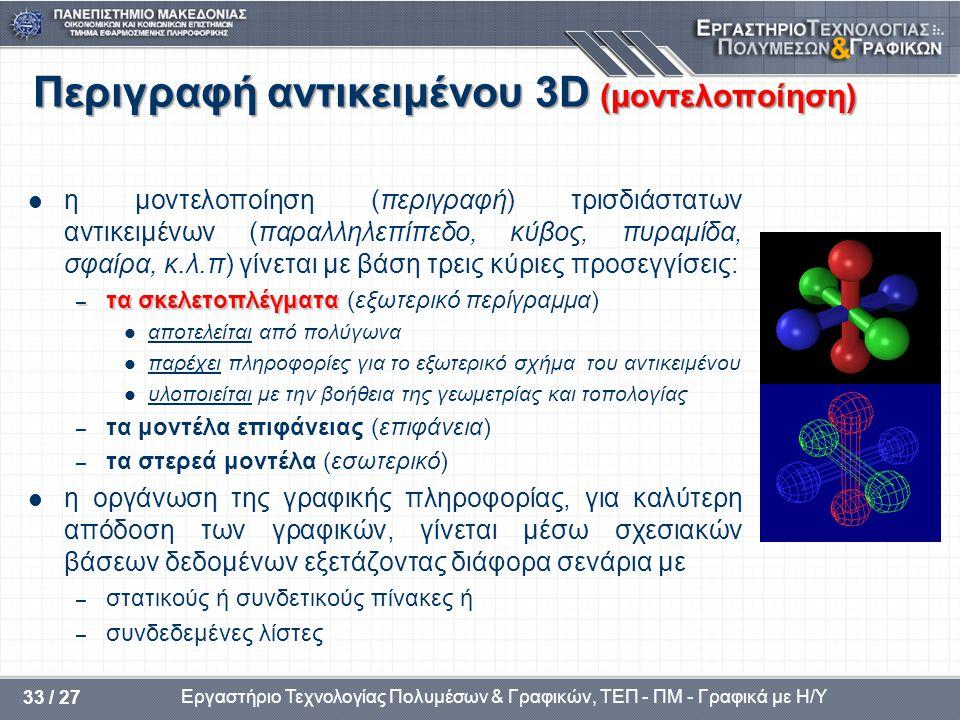 Εργαστήριο Τεχνολογίας Πολυμέσων & Γραφικών, ΤΕΠ - ΠΜ - Γραφικά με Η/Υ 33 / 27 Περιγραφή αντικειμένου 3D (μοντελοποίηση) η μοντελοποίηση (περιγραφή) τ