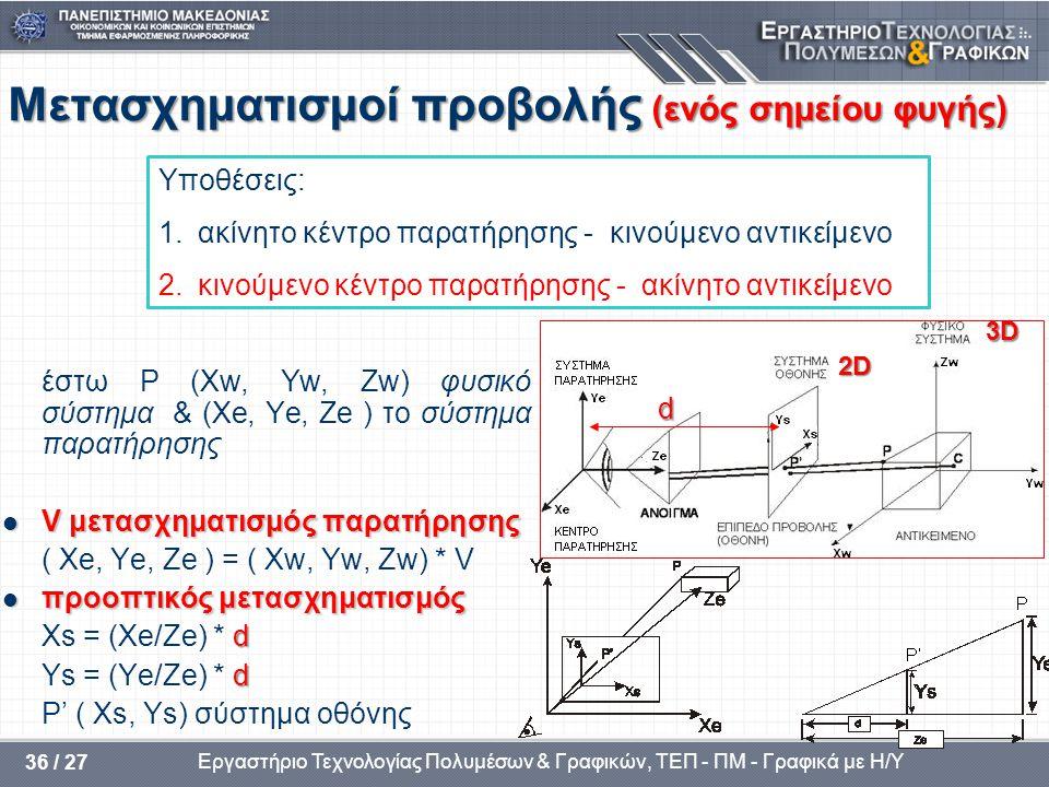 Εργαστήριο Τεχνολογίας Πολυμέσων & Γραφικών, ΤΕΠ - ΠΜ - Γραφικά με Η/Υ 36 / 27 Μετασχηματισμοί προβολής (ενός σημείου φυγής) έστω P (Xw, Yw, Zw) φυσικ