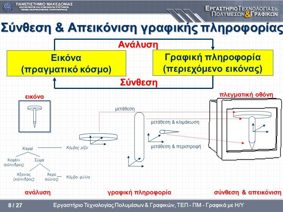 Εργαστήριο Τεχνολογίας Πολυμέσων & Γραφικών, ΤΕΠ - ΠΜ - Γραφικά με Η/Υ 39 / 37 Ένα απλό μοντέλο φωτισμού ρεαλιστική παράσταση γραφικών για την ρεαλιστική παράσταση γραφικών χρειάζονται τα εξής: – ένα μοντέλο φωτισμού (απλοποιημένη αναπαράσταση των φυσικών νόμων) – αλγόριθμος φωτισμού (υλοποίηση του μοντέλου) μοντέλο ένα απλό μοντέλο φωτισμού (Phong) λαμβάνει υπόψη του τον γραμμικό συνδυασμό των παρακάτω τριών συνιστωσών (διαδικασία χρονοβόρα για αντικείμενα με πολλές επιφάνειες): I d – της έντασης I d της διάχυτης ανάκλασης I s – της έντασης I s της κατοπτρικής ανάκλαση & I α – της έντασης I α του έμμεσου φωτισμού (περιβάλλον φως) αλγόριθμοι φωτισμού : οι αλγόριθμοι φωτισμού είναι: – σταθερού φωτισμού – Gouraud – Phong περιγράφει περιγράφει: την γραφική πληροφορία που εισάγεται & εξάγεται και τις υποθέσεις που θα χρησιμοποιήσουμε για να υπολογίσουμε την ένταση (φωτισμό) για κάθε pixel μιας επιφάνειας ενός αντικειμένου