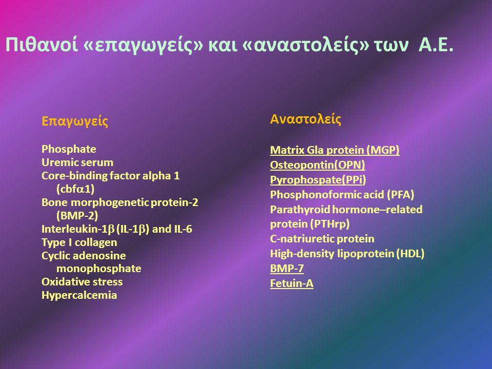Επαγωγείς Phosphate Uremic serum Core-binding factor alpha 1 (cbf  1) Bone morphogenetic protein-2 (BMP-2) Interleukin-1  (IL-1  ) and IL-6 Type I collagen Cyclic adenosine monophosphate Oxidative stress Hypercalcemia Αναστολείς Matrix Gla protein (MGP) Osteopontin(ΟΡΝ) Pyrophospate(PPi) Phosphonoformic acid (PFA) Parathyroid hormone–related protein (PTHrp) C-natriuretic protein High-density lipoprotein (HDL) BMP-7 Fetuin-Α Πιθανοί «επαγωγείς» και «αναστολείς» των Α.Ε.