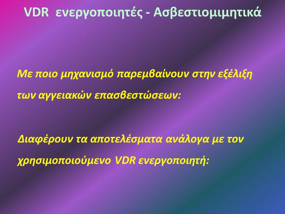 VDR ενεργοποιητές - Ασβεστιομιμητικά Με ποιο μηχανισμό παρεμβαίνουν στην εξέλιξη των αγγειακών επασβεστώσεων: Διαφέρουν τα αποτελέσματα ανάλογα με τον χρησιμοποιούμενο VDR ενεργοποιητή: