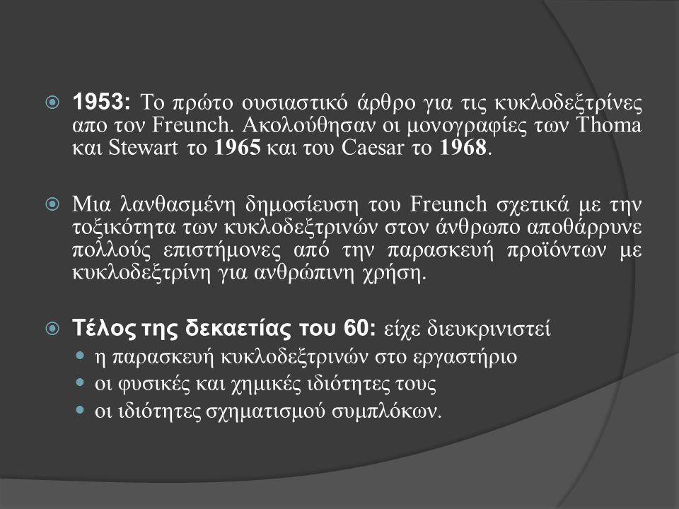  1953: Το πρώτο ουσιαστικό άρθρο για τις κυκλοδεξτρίνες απο τον Freunch. Ακολούθησαν οι μονογραφίες των Thoma και Stewart το 1965 και του Caesar το 1