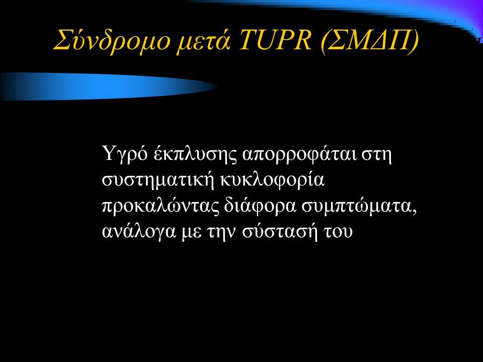 Σύνδρομο μετά TUPR (ΣΜΔΠ) Υγρό έκπλυσης απορροφάται στη συστηματική κυκλοφορία προκαλώντας διάφορα συμπτώματα, ανάλογα με την σύστασή του