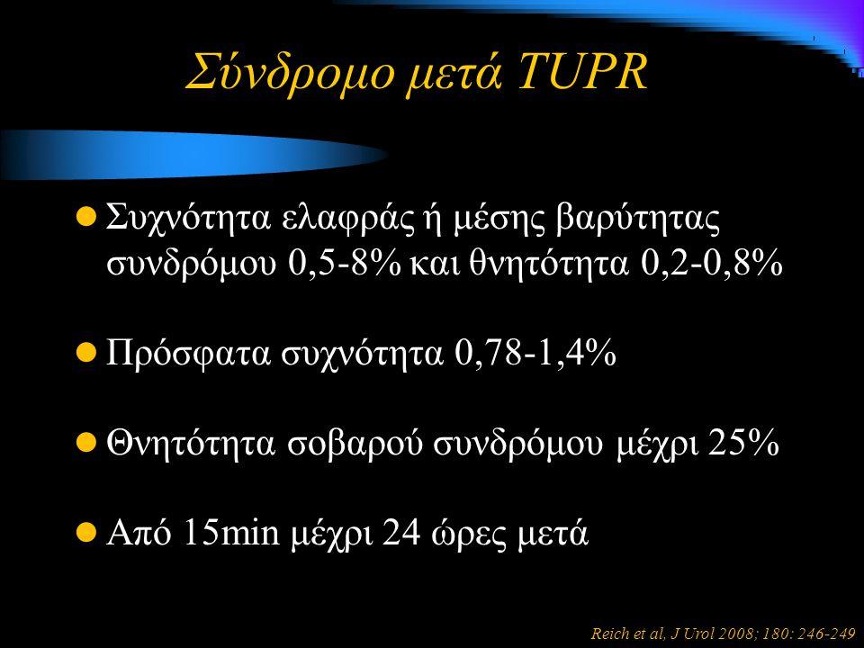 Σύνδρομο μετά TUPR Συχνότητα ελαφράς ή μέσης βαρύτητας συνδρόμου 0,5-8% και θνητότητα 0,2-0,8% Πρόσφατα συχνότητα 0,78-1,4% Θνητότητα σοβαρού συνδρόμου μέχρι 25% Από 15min μέχρι 24 ώρες μετά Reich et al, J Urol 2008; 180: 246-249
