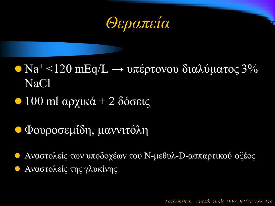 Θεραπεία Na + <120 mEq/L → υπέρτονου διαλύματος 3% NaCl 100 ml αρχικά + 2 δόσεις Φουροσεμίδη, μαννιτόλη Αναστολείς των υποδοχέων του Ν-μεθυλ-D-ασπαρτικού οξέος Αναστολείς της γλυκίνης Gravenstein, Anesth Analg 1997; 84(2): 438-446