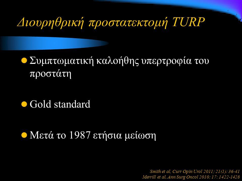 Διουρηθρική προστατεκτομή TURP Συμπτωματική καλοήθης υπερτροφία του προστάτη Gold standard Μετά το 1987 ετήσια μείωση Smith et al, Curr Opin Urol 2011; 21(1): 36-41 Merrill et al, Ann Surg Oncol 2010; 17: 1422-1428
