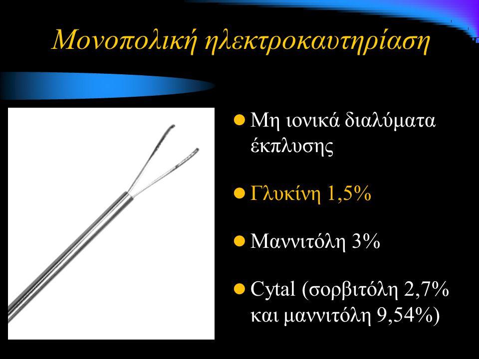 Μονοπολική ηλεκτροκαυτηρίαση Μη ιονικά διαλύματα έκπλυσης Γλυκίνη 1,5% Μαννιτόλη 3% Cytal (σορβιτόλη 2,7% και μαννιτόλη 9,54%)