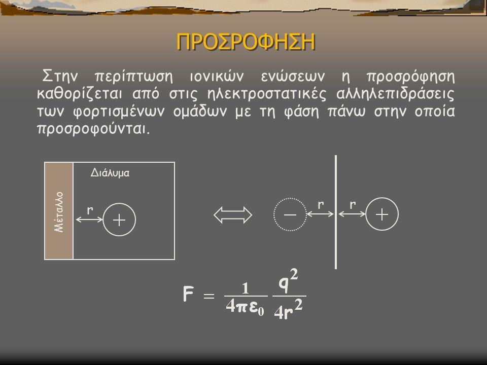 ΠΡΟΣΡΟΦΗΣΗ Στην περίπτωση ιονικών ενώσεων η προσρόφηση καθορίζεται από στις ηλεκτροστατικές αλληλεπιδράσεις των φορτισμένων ομάδων με τη φάση πάνω στην οποία προσροφούνται.