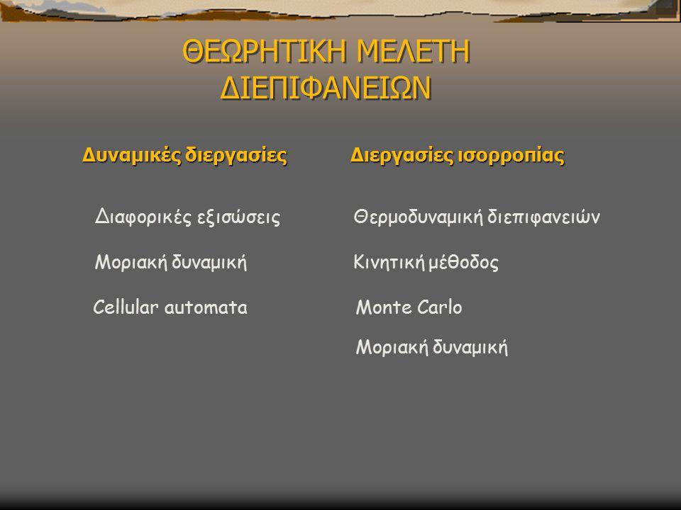 ΘΕΩΡΗΤΙΚΗ ΜΕΛΕΤΗ ΔΙΕΠΙΦΑΝΕΙΩΝ Δυναμικές διεργασίες Διαφορικές εξισώσεις Μοριακή δυναμική Cellular automata Διεργασίες ισορροπίας Θερμοδυναμική διεπιφανειών Κινητική μέθοδος Monte Carlo Μοριακή δυναμική