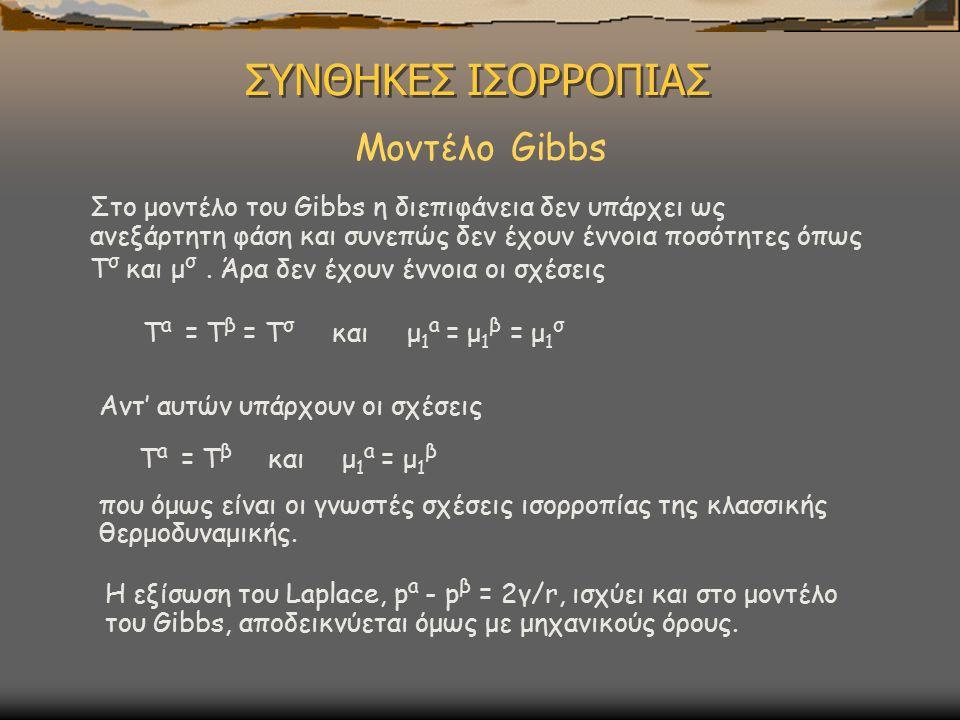 ΣΥΝΘΗΚΕΣ ΙΣΟΡΡΟΠΙΑΣ Μοντέλο Gibbs Στο μοντέλο του Gibbs η διεπιφάνεια δεν υπάρχει ως ανεξάρτητη φάση και συνεπώς δεν έχουν έννοια ποσότητες όπως T σ και μ σ.