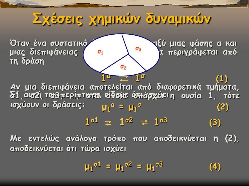 Όταν ένα συστατικό (1) υπάρχει μεταξύ μιας φάσης α και μιας διεπιφάνειας σ, τότε η ισορροπία περιγράφεται από τη δράση 1 α 1 σ (1) 1 α 1 σ (1) Σ΄ αυτή την περίπτωση είδαμε ότι ισχύει μ 1 α = μ 1 σ (2) μ 1 α = μ 1 σ (2) Aν μια διεπιφάνεια αποτελείται από διαφορετικά τμήματα, σ1, σ2, σ3, …, στα οποία υπάρχει η ουσία 1, τότε ισχύουν οι δράσεις: 1 σ1 1 σ2 1 σ3 (3) Με εντελώς ανάλογο τρόπο που αποδεικνύεται η (2), αποδεικνύεται ότι τώρα ισχύει μ 1 σ1 = μ 1 σ2 = μ 1 σ3 (4) μ 1 σ1 = μ 1 σ2 = μ 1 σ3 (4) σ1σ1 σ3σ3 σ2σ2 Σχέσεις χημικών δυναμικών