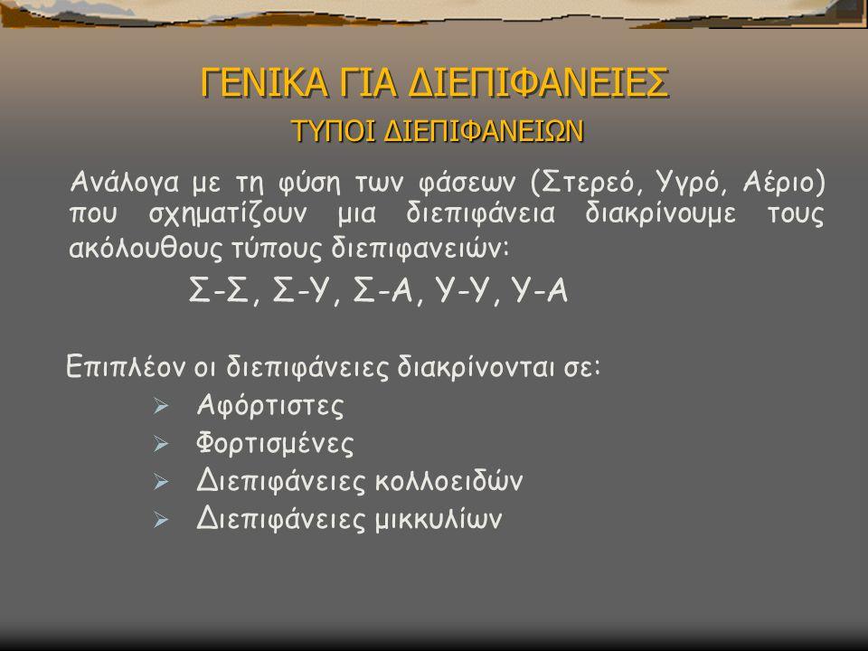 ΓΕΝΙΚΑ ΓΙΑ ΔΙΕΠΙΦΑΝΕΙΕΣ ΤΥΠΟΙ ΔΙΕΠΙΦΑΝΕΙΩΝ Ανάλογα με τη φύση των φάσεων (Στερεό, Υγρό, Αέριο) που σχηματίζουν μια διεπιφάνεια διακρίνουμε τους ακόλουθους τύπους διεπιφανειών: Σ-Σ, Σ-Υ, Σ-Α, Υ-Υ, Υ-Α Επιπλέον οι διεπιφάνειες διακρίνονται σε:  Αφόρτιστες  Φορτισμένες  Διεπιφάνειες κολλοειδών  Διεπιφάνειες μικκυλίων
