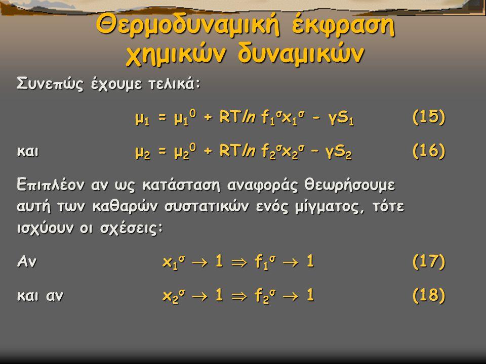 Θερμοδυναμική έκφραση χημικών δυναμικών Συνεπώς έχουμε τελικά: μ 1 = μ 1 0 + RTln f 1 σ x 1 σ - γS 1 (15) μ 1 = μ 1 0 + RTln f 1 σ x 1 σ - γS 1 (15) και μ 2 = μ 2 0 + RTln f 2 σ x 2 σ – γS 2 (16) Επιπλέον αν ως κατάσταση αναφοράς θεωρήσουμε αυτή των καθαρών συστατικών ενός μίγματος, τότε ισχύουν οι σχέσεις: Αν x 1 σ  1  f 1 σ  1 (17) και αν x 2 σ  1  f 2 σ  1 (18)