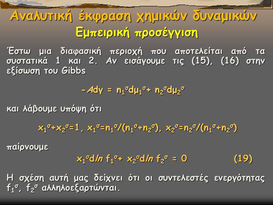 Αναλυτική έκφραση χημικών δυναμικών Έστω μια διαφασική περιοχή που αποτελείται από τα συστατικά 1 και 2.