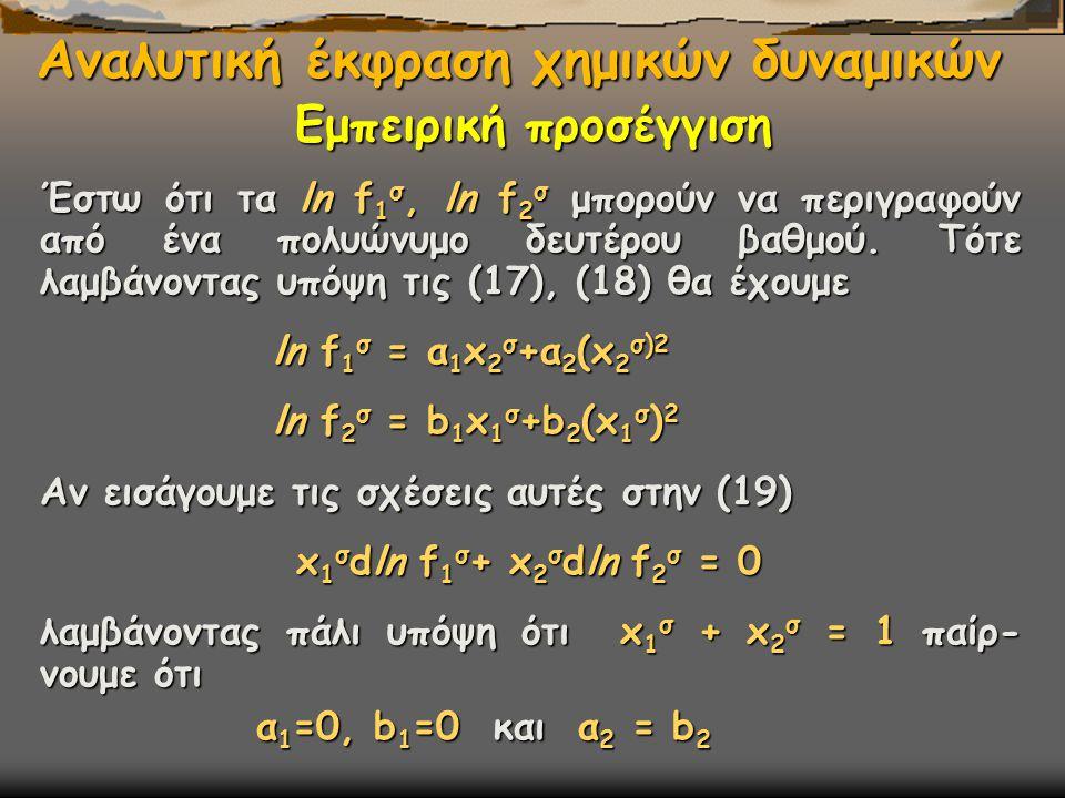 Αναλυτική έκφραση χημικών δυναμικών Έστω ότι τα ln f 1 σ, ln f 2 σ μπορούν να περιγραφούν από ένα πολυώνυμο δευτέρου βαθμού. Τότε λαμβάνοντας υπόψη τι