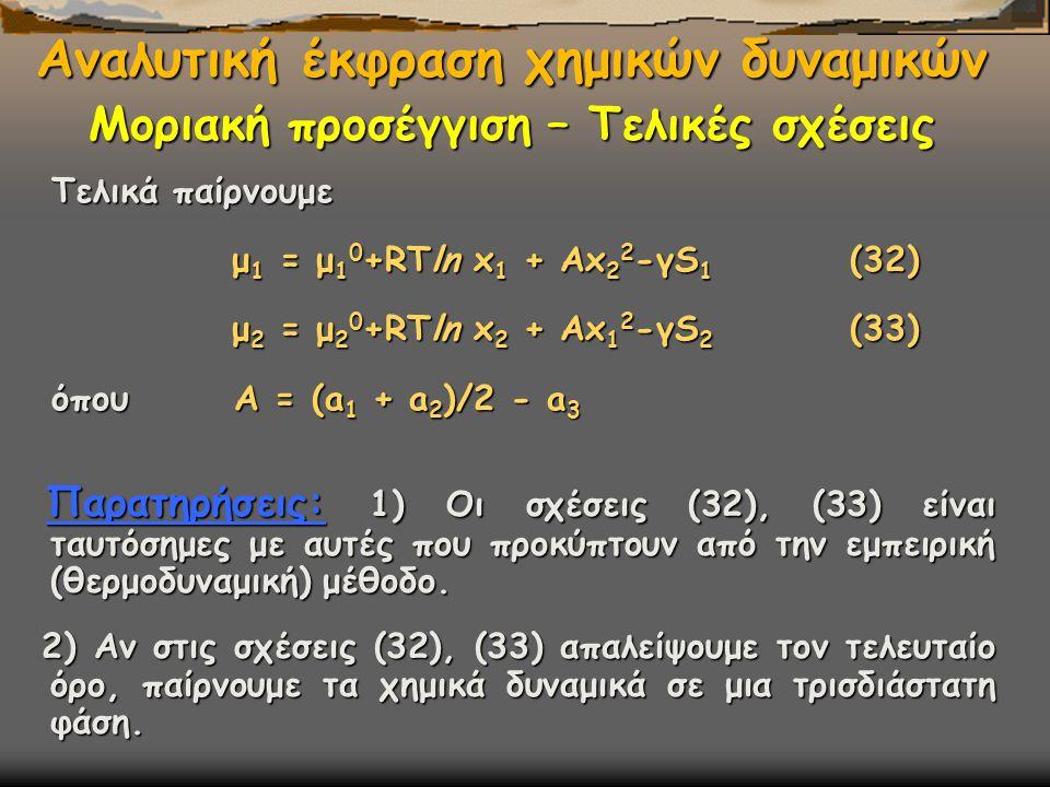 Τελικά παίρνουμε μ 1 = μ 1 0 +RΤln x 1 + Αx 2 2 -γS 1 (32) μ 1 = μ 1 0 +RΤln x 1 + Αx 2 2 -γS 1 (32) μ 2 = μ 2 0 +RΤln x 2 + Αx 1 2 -γS 2 (33) μ 2 = μ 2 0 +RΤln x 2 + Αx 1 2 -γS 2 (33) όπου Α = (a 1 + a 2 )/2 - a 3 Αναλυτική έκφραση χημικών δυναμικών Μοριακή προσέγγιση – Τελικές σχέσεις Παρατηρήσεις: 1) Οι σχέσεις (32), (33) είναι ταυτόσημες με αυτές που προκύπτουν από την εμπειρική (θερμοδυναμική) μέθοδο.