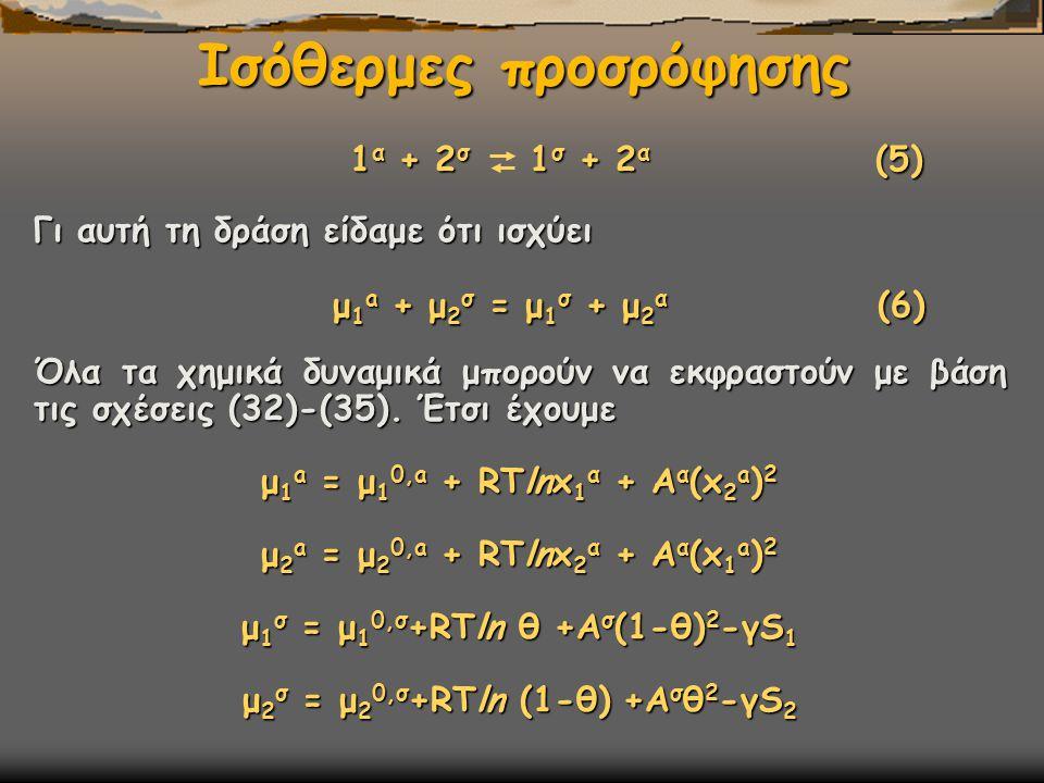 Ισόθερμες προσρόφησης 1 α + 2 σ 1 σ + 2 α (5) 1 α + 2 σ 1 σ + 2 α (5) Γι αυτή τη δράση είδαμε ότι ισχύει μ 1 a + μ 2 σ = μ 1 σ + μ 2 α (6) μ 1 a + μ 2 σ = μ 1 σ + μ 2 α (6) Όλα τα χημικά δυναμικά μπορούν να εκφραστούν με βάση τις σχέσεις (32)-(35).