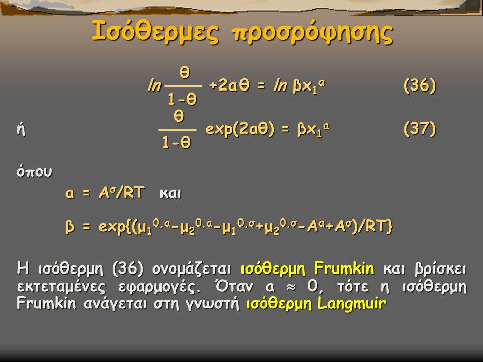Ισόθερμες προσρόφησης ln +2α θ = ln βx 1 a (36) ln +2α θ = ln βx 1 a (36) ή exp(2aθ) = βx 1 a (37) όπου a = A σ /RT και a = A σ /RT και β = exp{(μ 1 0,a -μ 2 0,a -μ 1 0,σ +μ 2 0,σ -Α α +Α σ )/RT} β = exp{(μ 1 0,a -μ 2 0,a -μ 1 0,σ +μ 2 0,σ -Α α +Α σ )/RT} Η ισόθερμη (36) ονομάζεται ισόθερμη Frumkin και βρίσκει εκτεταμένες εφαρμογές.