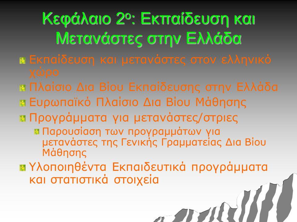 Κεφάλαιο 2 ο : Εκπαίδευση και Μετανάστες στην Ελλάδα Εκπαίδευση και μετανάστες στον ελληνικό χώρο Πλαίσιο Δια Βίου Εκπαίδευσης στην Ελλάδα Ευρωπαϊκό Πλαίσιο Δια Βίου Μάθησης Προγράμματα για μετανάστες/στριες Παρουσίαση των προγραμμάτων για μετανάστες της Γενικής Γραμματείας Δια Βίου Μάθησης Υλοποιηθέντα Εκπαιδευτικά προγράμματα και στατιστικά στοιχεία