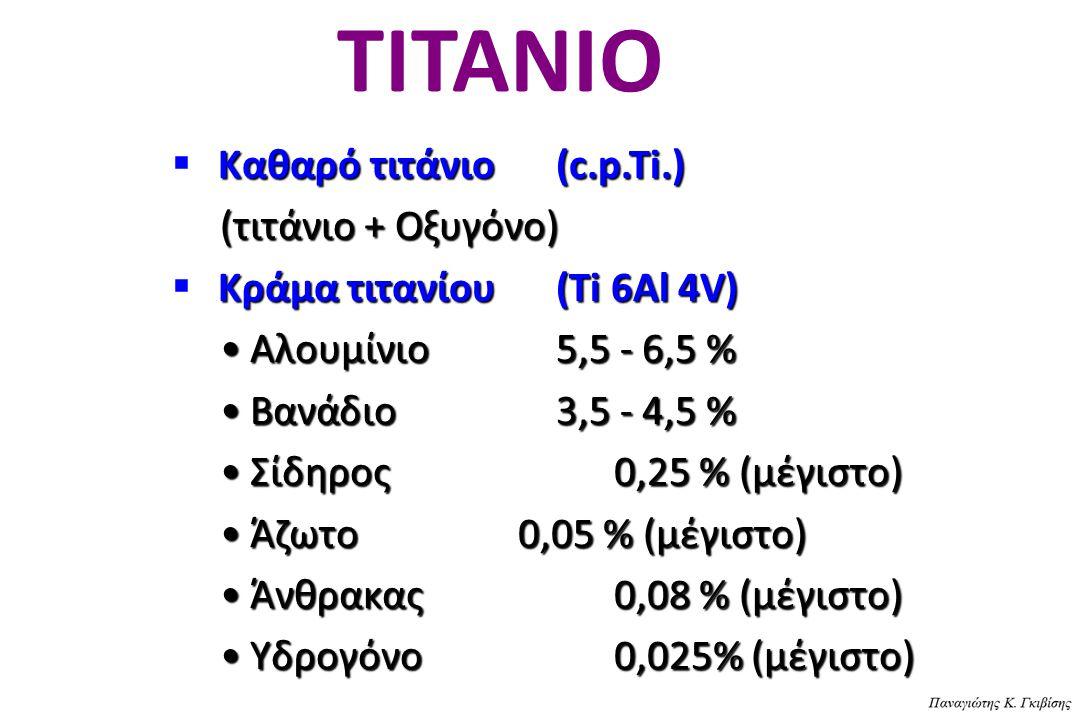 ΤΙΤΑΝΙΟ Καθαρό τιτάνιο(c.p.Ti.)  Καθαρό τιτάνιο(c.p.Ti.) (τιτάνιο + Οξυγόνο) Κράμα τιτανίου(Ti 6Al 4V)  Κράμα τιτανίου(Ti 6Al 4V) Αλουμίνιο5,5 - 6,5