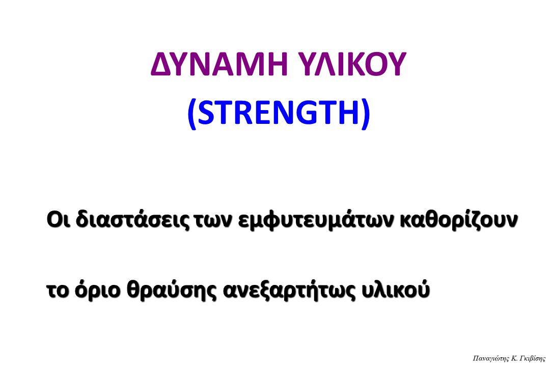 ΔΥΝΑΜΗ ΥΛΙΚΟΥ (STRENGTH) Οι διαστάσεις των εμφυτευμάτων καθορίζουν το όριο θραύσης ανεξαρτήτως υλικού