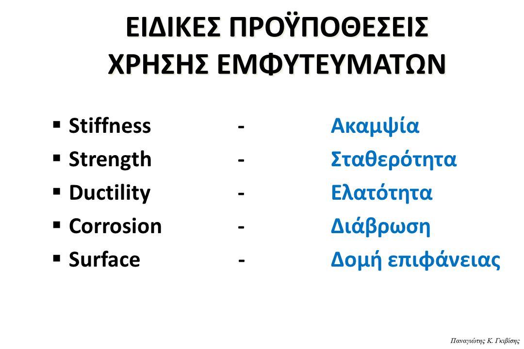 ΕΙΔΙΚΕΣ ΠΡΟΫΠΟΘΕΣΕΙΣ ΧΡΗΣΗΣ ΕΜΦΥΤΕΥΜΑΤΩΝ  Stiffness-Ακαμψία  Strength-Σταθερότητα  Ductility-Ελατότητα  Corrosion-Διάβρωση  Surface -Δομή επιφάνε