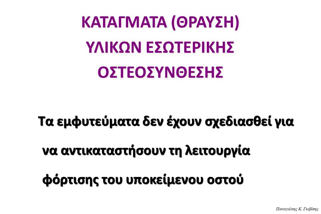 ΚΑΤΑΓΜΑΤΑ (ΘΡΑΥΣΗ) ΥΛΙΚΩΝ ΕΣΩΤΕΡΙΚΗΣ ΟΣΤΕΟΣΥΝΘΕΣΗΣ Τα εμφυτεύματα δεν έχουν σχεδιασθεί για να αντικαταστήσουν τη λειτουργία φόρτισης του υποκείμενου ο