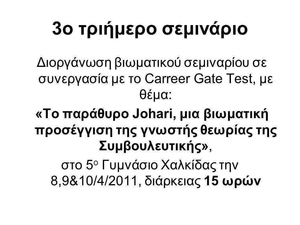 3ο τριήμερο σεμινάριο Διοργάνωση βιωματικού σεμιναρίου σε συνεργασία με το Carreer Gate Test, με θέμα: «Το παράθυρο Johari, μια βιωματική προσέγγιση τ