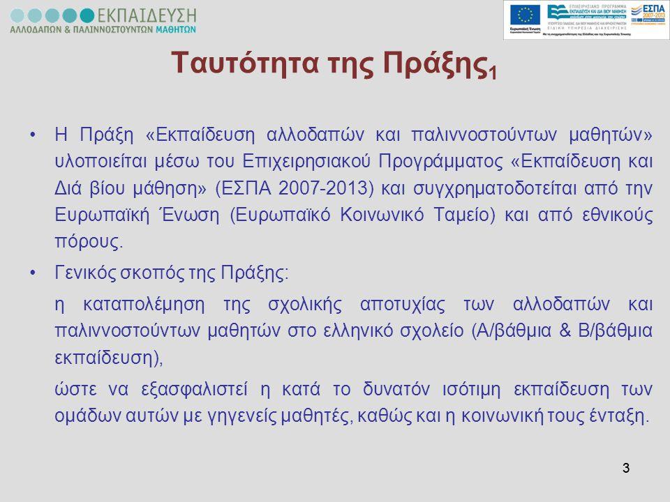 44 Ταυτότητα της Πράξης 2 Η Πράξη υλοποιείται από το Αριστοτέλειο Πανεπιστήμιο Θεσσαλονίκης Αριστοτέλειο Πανεπιστήμιο Θεσσαλονίκης σε σύμπραξη με  το Πανεπιστήμιο Αιγαίου,  το Πανεπιστήμιο Θεσσαλίας και  το Πανεπιστήμιο Ιωαννίνων 10 διαφορετικές δράσειςΣτο πλαίσιο της Πράξης υλοποιούνται 10 διαφορετικές δράσεις, οι οποίες στοχεύουν στην ενίσχυση και υποστήριξη  των μαθητών που ανήκουν στην ομάδα στόχο,  των εκπαιδευτικών του σχολείου, αλλά και  των γονέων των αλλοδαπών μαθητών