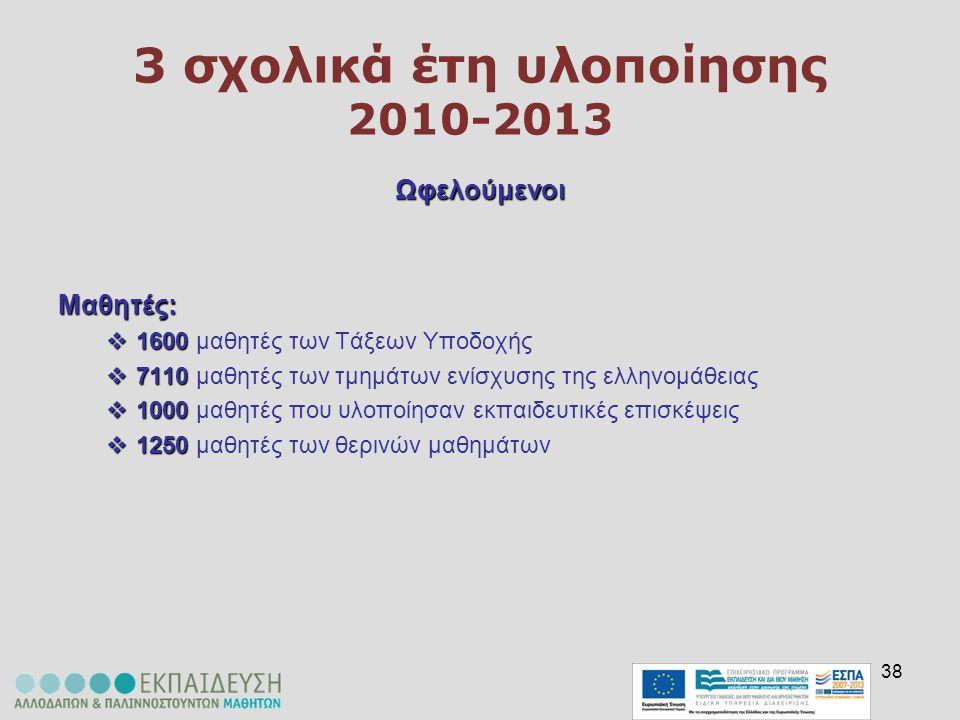 38 3 σχολικά έτη υλοποίησης 2010-2013 ΩφελούμενοιΜαθητές:  1600  1600 μαθητές των Τάξεων Υποδοχής  7110  7110 μαθητές των τμημάτων ενίσχυσης της ε