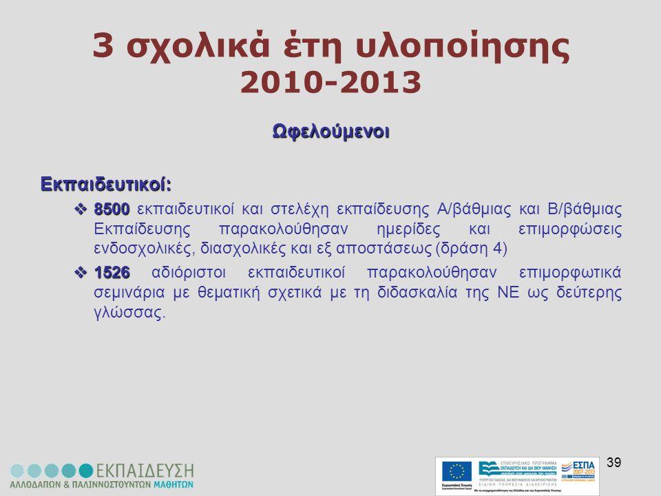 39 3 σχολικά έτη υλοποίησης 2010-2013 ΩφελούμενοιΕκπαιδευτικοί:  8500  8500 εκπαιδευτικοί και στελέχη εκπαίδευσης Α/βάθμιας και Β/βάθμιας Εκπαίδευση