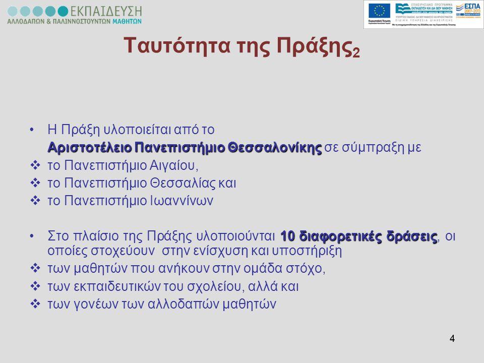 55 Περιγραφή της Πράξης 3 Επιστημονικά Υπεύθυνη Άννα Αναστασιάδη- Συμεωνίδη Δράση 1 Υποστήριξη της λειτουργίας των τάξεων υποδοχής Δράση 2 Ενίσχυση της ελληνομάθειας Δράση 3 Καλλιέργεια κλίματος διαπολιτισμικής επικοινωνίας σε επίπεδο σχολείου Δράση 4 Επιμόρφωση εκπαιδευτικών και μελών της εκπαιδευτικής κοινότητας Δράση 5 Ενίσχυση της μητρικής γλώσσας των μαθητών Δράση 6 Προγράμματα ψυχολογικής υποστήριξης Δράση 7 Σύνδεση σχολείου και κοινότητας Δράση 8 Δικτύωση σχολείων Δράση 9 Λοιπές υποστηρικτικές ενέργειες Δράση 10 Αξιολόγηση