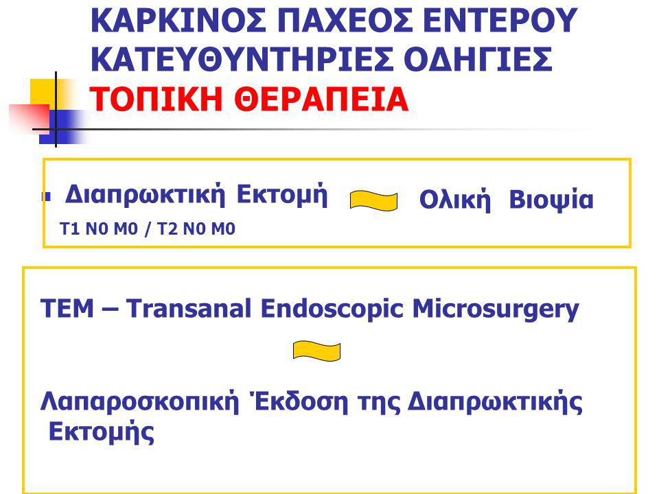 ΚΑΡΚΙΝΟΣ ΠΑΧΕΟΣ ΕΝΤΕΡΟΥ ΚΑΤΕΥΘΥΝΤΗΡΙΕΣ ΟΔΗΓΙΕΣ ΤΟΠΙΚΗ ΘΕΡΑΠΕΙΑ Διαπρωκτική Εκτομή Τ1 Ν0 Μ0 / Τ2 Ν0 Μ0 Ολική Βιοψία TEM – Transanal Endoscopic Microsur