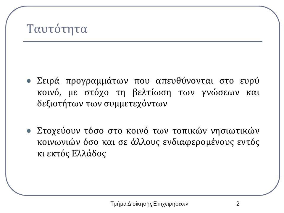 Ταυτότητα Σειρά προγραμμάτων που απευθύνονται στο ευρύ κοινό, με στόχο τη βελτίωση των γνώσεων και δεξιοτήτων των συμμετεχόντων Στοχεύουν τόσο στο κοινό των τοπικών νησιωτικών κοινωνιών όσο και σε άλλους ενδιαφερομένους εντός κι εκτός Ελλάδος Τμήμα Διοίκησης Επιχειρήσεων 2