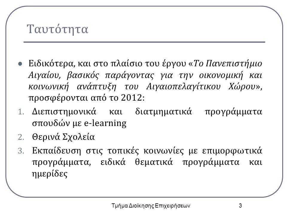 Ταυτότητα Ειδικότερα, και στο πλαίσιο του έργου «Το Πανεπιστήμιο Αιγαίου, βασικός παράγοντας για την οικονομική και κοινωνική ανάπτυξη του Αιγαιοπελαγίτικου Χώρου», προσφέρονται από το 2012: 1.