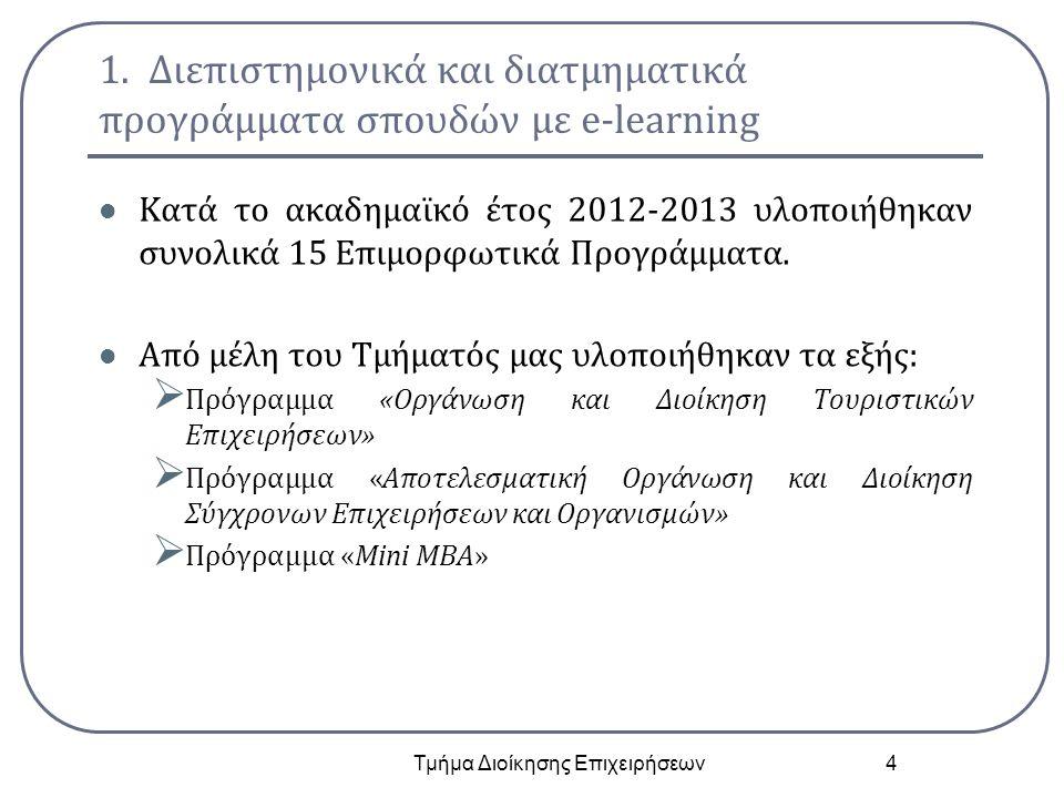 1. Διεπιστημονικά και διατμηματικά προγράμματα σπουδών με e-learning Κατά το ακαδημαϊκό έτος 2012-2013 υλοποιήθηκαν συνολικά 15 Επιμορφωτικά Προγράμμα