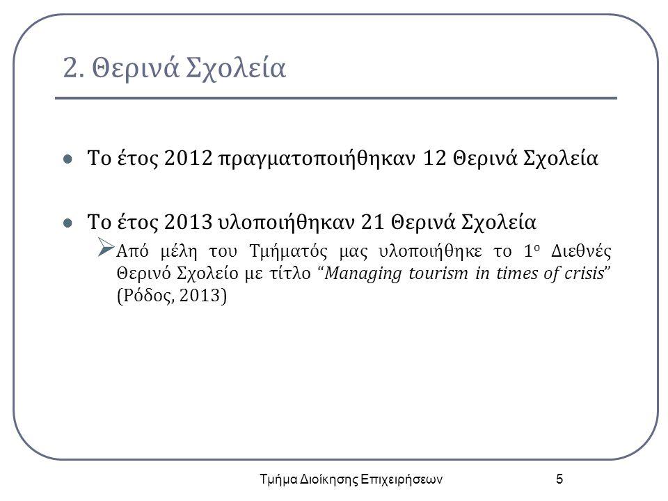 2. Θερινά Σχολεία Το έτος 2012 πραγματοποιήθηκαν 12 Θερινά Σχολεία Το έτος 2013 υλοποιήθηκαν 21 Θερινά Σχολεία  Από μέλη του Τμήματός μας υλοποιήθηκε