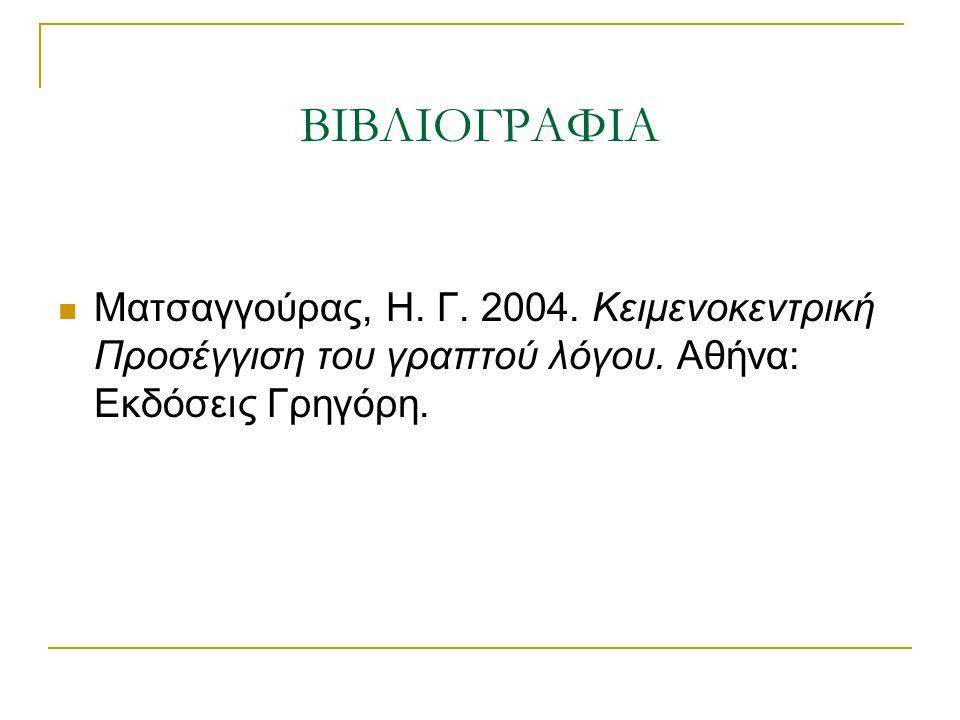 ΒΙΒΛΙΟΓΡΑΦΙΑ Ματσαγγούρας, Η. Γ. 2004. Κειμενοκεντρική Προσέγγιση του γραπτού λόγου. Αθήνα: Εκδόσεις Γρηγόρη.