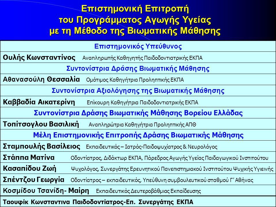 Επιστημονική Επιτροπή του Προγράμματος Αγωγής Υγείας με τη Μέθοδο της Βιωματικής Μάθησης Επιστημονικός Υπεύθυνος Ουλής Κωνσταντίνος Αναπληρωτής Καθηγητής Παιδοδοντιατρικής ΕΚΠΑ Συντονίστρια Δράσης Βιωματικής Μάθησης Αθανασούλη Θεσσαλία Ομότιμος Καθηγήτρια Προληπτικής ΕΚΠΑ Συντονίστρια Αξιολόγησης της Βιωματικής Μάθησης Καββαδία Αικατερίνη Επίκουρη Καθηγήτρια Παιδοδοντιατρικής ΕΚΠΑ Συντονίστρια Δράσης Βιωματικής Μάθησης Βορείου Ελλάδας Τοπίτσογλου Βασιλική Αναπληρώτρια Καθηγήτρια Προληπτικής ΑΠΘ Μέλη Επιστημονικής Επιτροπής Δράσης Βιωματικής Μάθησης Σταμπουλής Βασίλειος Εκπαιδευτικός – Ιατρός-Παιδοψυχίατρος & Νευρολόγος Στάππα Ματίνα Οδοντίατρος, Διδάκτωρ ΕΚΠΑ, Πάρεδρος Αγωγής Υγείας Παιδαγωγικού Ινστιτούτου Κασαπίδου Ζωή Ψυχολόγος, Συνεργάτης Ερευνητικού Πανεπιστημιακού Ινστιτούτου Ψυχικής Υγιεινής Σπέντζου Γεωργία Οδοντίατρος – εκπαιδευτικός, Υπεύθυνη συμβουλευτικού σταθμού Γ' Αθήνας Κοσμίδου Τσανίδη- Μαίρη Εκπαιδευτικός Δευτεροβάθμιας Εκπαίδευσης Ταουφίκ Κωνσταντινα Παιδοδοντίατρος-Επ.