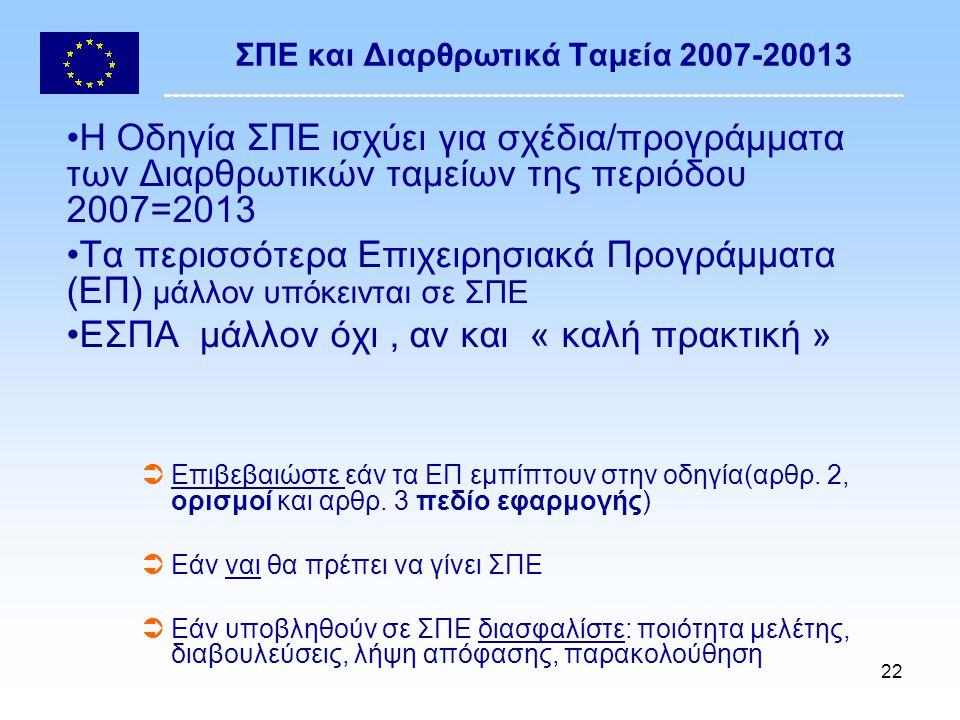 22 ΣΠΕ και Διαρθρωτικά Ταμεία 2007-20013 Η Οδηγία ΣΠΕ ισχύει για σχέδια/προγράμματα των Διαρθρωτικών ταμείων της περιόδου 2007=2013 Τα περισσότερα Επιχειρησιακά Προγράμματα (ΕΠ) μάλλον υπόκεινται σε ΣΠΕ ΕΣΠΑ μάλλον όχι, αν και « καλή πρακτική »  Επιβεβαιώστε εάν τα ΕΠ εμπίπτουν στην οδηγία(αρθρ.