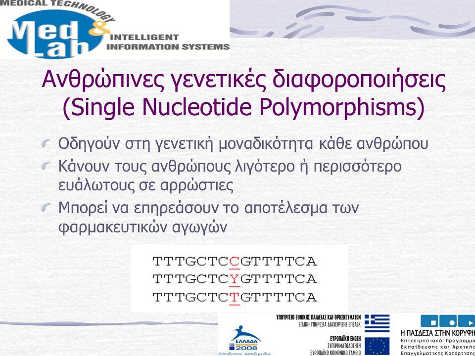 Ανθρώπινες γενετικές διαφοροποιήσεις (Single Nucleotide Polymorphisms) Οδηγούν στη γενετική μοναδικότητα κάθε ανθρώπου Κάνουν τους ανθρώπους λιγότερο